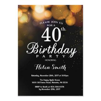 GoldGlitzer-40. Geburtstags-Einladungs-Karte Karte