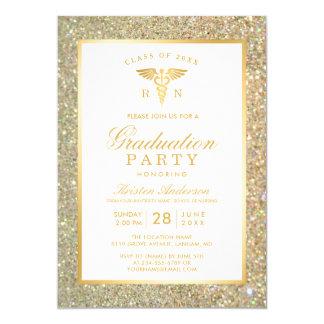 GoldGlitzer-Krankenpflege-SchulAbschluss-Party Karte