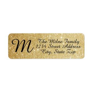 GoldGlitzer-Monogramm-Adressen-Etiketten Kleiner Adressaufkleber