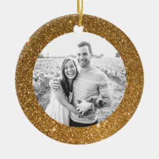 GoldGlitzer-Rahmen-Feiertags-Weihnachtsverzierung Keramik Ornament