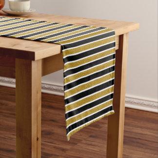 GoldGlitzer-schwarzer u. weißer Kurzer Tischläufer