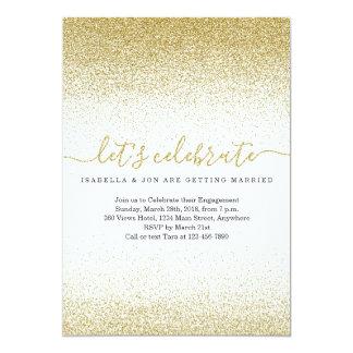 GoldGlitzer-Verlobungs-Party Einladung