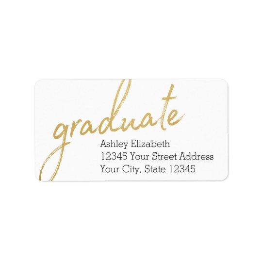 Goldgraduierte moderne Abschluss-Rücksendeadresse Adressaufkleber