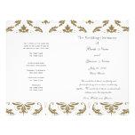Goldgraues Vintages Damast-Hochzeits-Programm Individuelle Flyer