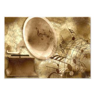 Goldhintergrund mit Grammophon-Foto-Druck