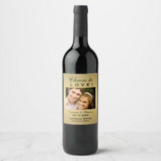 Goldhochzeits-Foto-Wein-Flaschen-Bevorzugung Weinetikett