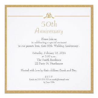 GoldHochzeitstag-Einladung Quadratische 13,3 Cm Einladungskarte