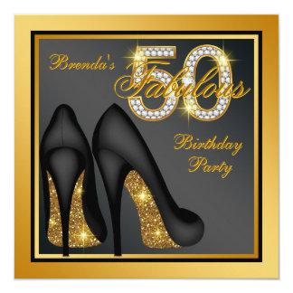 Goldhohe Fersen-Schuh-fabelhaftes 50. Quadratische 13,3 Cm Einladungskarte