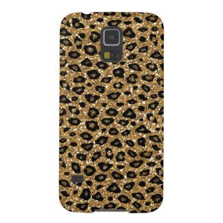 GoldImitat-Glitter-Leopard-Druck-Monogramm Samsung Galaxy S5 Cover