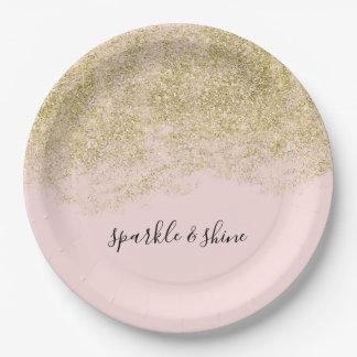 GoldImitat-Glitzer erröten rosa Schein Pappteller