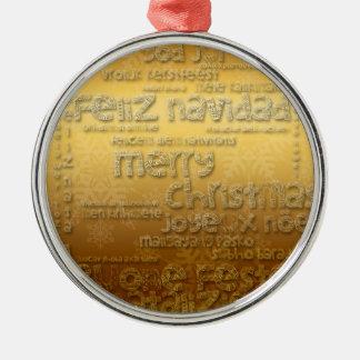 Goldinternationales Weihnachten Navidad rundes O Rundes Silberfarbenes Ornament