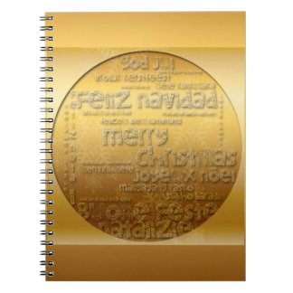 Goldinternationales WeihnachtenNavidad Notizbuch Spiral Notizblock