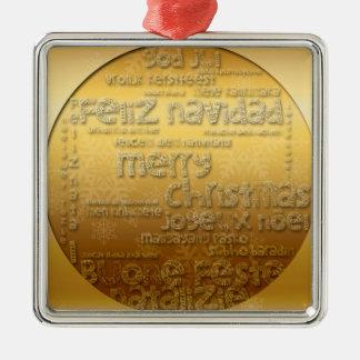 Goldinternationales Weihnachtsgrüßende Quadratisches Silberfarbenes Ornament