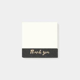 Goldkalligraphie danken Ihnen mit Punkten auf Post-it Klebezettel