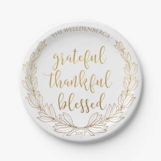 Gold Wreath Grateful Thankful Blessed Monogram