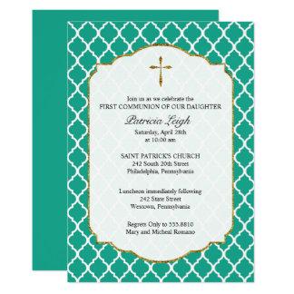 Goldkreuz, Quatrefoil Kommunions-Einladung, 12,7 X 17,8 Cm Einladungskarte