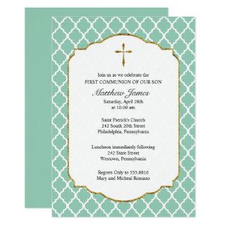 Goldkreuz, Quatrefoil Kommunions-Einladung, Minze 12,7 X 17,8 Cm Einladungskarte