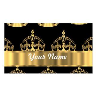 Goldkronenmuster auf Schwarzem Visitenkarten Vorlagen