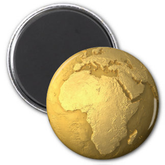 Goldkugel - Metal Erde, Afrika, 3d übertragen Runder Magnet 5,7 Cm