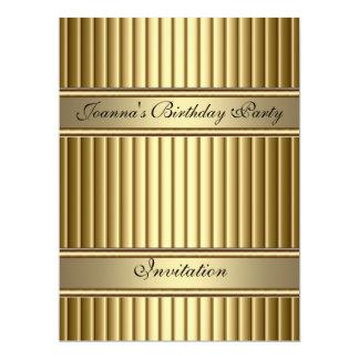 Goldkunst-Deko-Geburtstags-Party Einladungs-Gold 16,5 X 22,2 Cm Einladungskarte