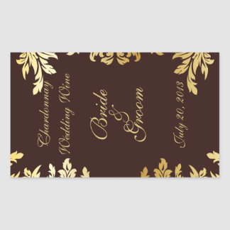 Goldkunst Nouveau Hochzeits-Wein-Aufkleber Rechteckiger Aufkleber