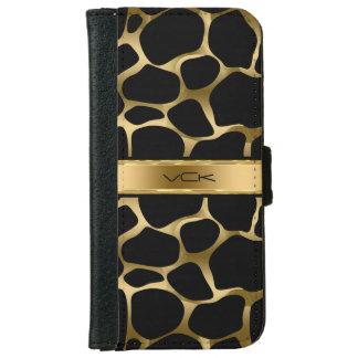 Goldleopard-Druck auf Schwarzem iPhone 6 Geldbeutel Hülle