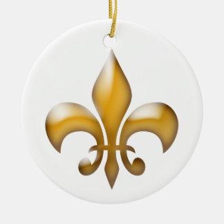 GoldLilien-Weihnachtsverzierung Rundes Keramik Ornament