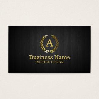 Goldlorbeer-Kranz-Monogramm-Innenarchitektur Visitenkarte