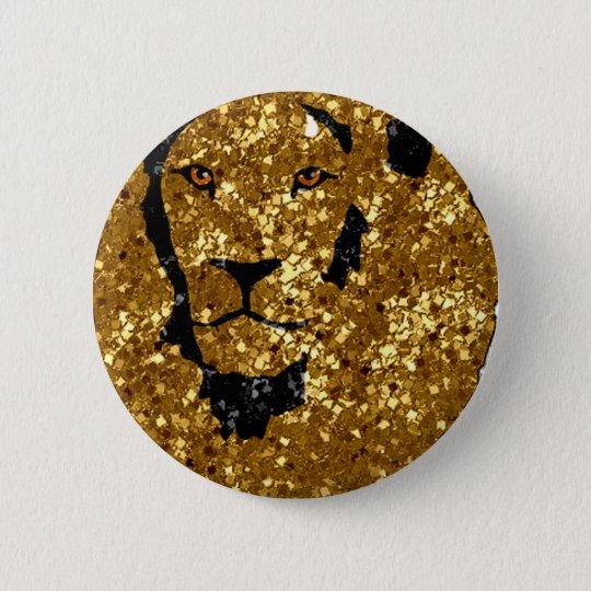 Goldlöwe mit Silber Runder Button 5,7 Cm
