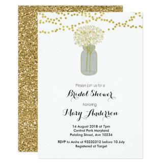 Goldmaurer-Glas-Brautparty-Einladung Karte