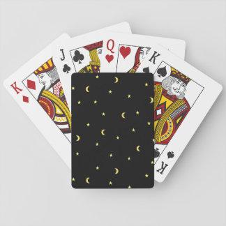 Goldmond und -sterne spielkarten