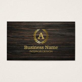 Goldmonogramm-dunkle hölzerne Innenarchitektur Visitenkarten