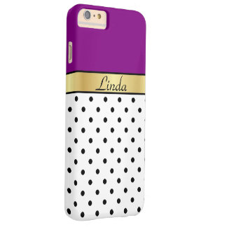 Goldmonogramm-lila violette weiße schwarze barely there iPhone 6 plus hülle