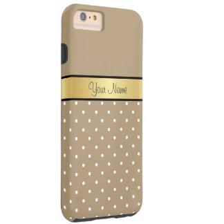 Goldmonogramm. Schicker Starfish-Brown-Weiß-Tupfen Tough iPhone 6 Plus Hülle