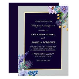 Goldrahmen blaue Boho Blumenhochzeits-Einladung 12,7 X 17,8 Cm Einladungskarte