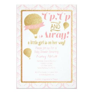 Goldrosa Heißluft-Ballon-Babyparty-Einladung 12,7 X 17,8 Cm Einladungskarte