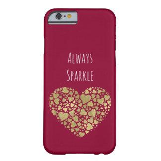 Goldrosa-Schein-Glittery Herzen Barely There iPhone 6 Hülle