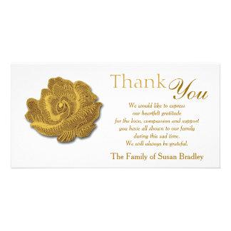 GoldRosen-Tapisserie - Beileid danken Ihnen Photokartenvorlage