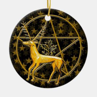 Goldrotwild u. Pentagramm - doppelseitiges #1 Keramik Ornament