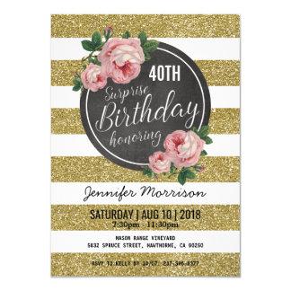 Goldschein-rosa Überraschungs-Geburtstags-mit 11,4 X 15,9 Cm Einladungskarte