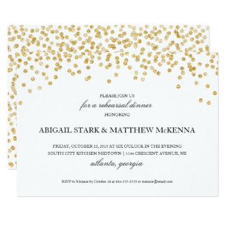 Goldscheinconfetti-Proben-Abendessen-Einladung 12,7 X 17,8 Cm Einladungskarte