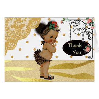 Goldscheinzebra-Druck-Babyparty danken Ihnen Karte