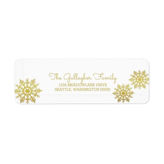 Goldschimmernder schicker Schneeflocke-Feiertag Rücksendeetiketten