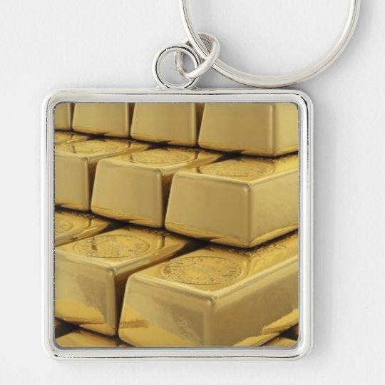 GOLDschlüssel Silberfarbener Quadratischer Schlüsselanhänger
