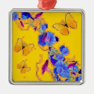 Goldschmetterlings-Blau-Winden Quadratisches Silberfarbenes Ornament