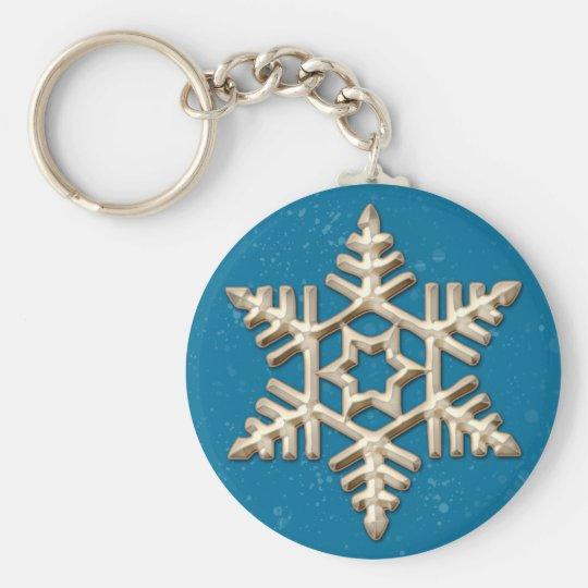 Goldschneeflocke am blauen Feiertag Keychain Schlüsselanhänger