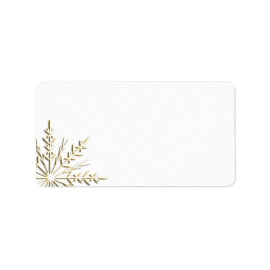Goldschneeflocke auf Weiß Adressaufkleber
