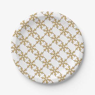 Goldschneeflocke-Entwurfs-Papier-Teller Pappteller