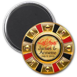 Goldschwarz-Kasino-Chip-Bevorzugung Las Vegass VIP Runder Magnet 5,7 Cm