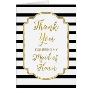 GoldSchwarz-weiße Streifen danken Ihnen Trauzeugin Grußkarte